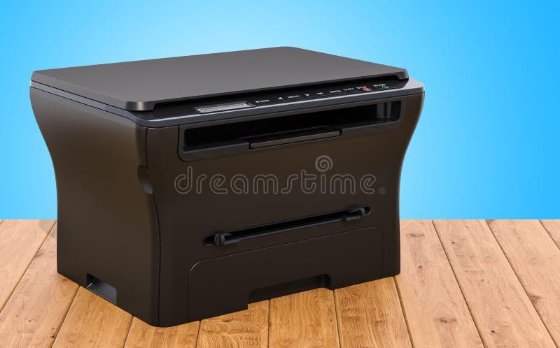 Многофункциональный принтер MFP на деревянном столе, перевод 3D бесплатная иллюстрация