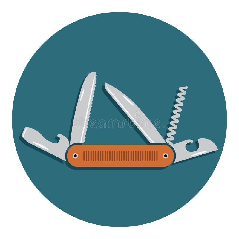 Многофункциональный значок карманного ножа Плоский дизайн и располагаясь лагерем инструмента оборудования, иллюстрации вектора с  иллюстрация вектора