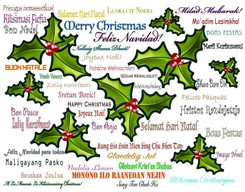 Многоязычная с Рождеством Христовым предпосылка стоковое изображение rf