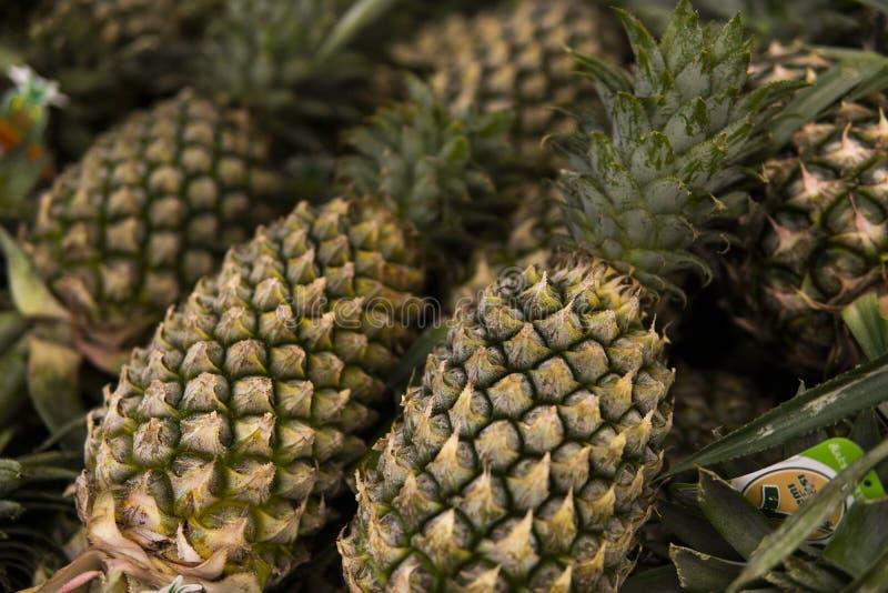 Много ананасов на рынке в азиатской стране Фон текстуры из ананасов Тропические и экзотические стоковое фото rf