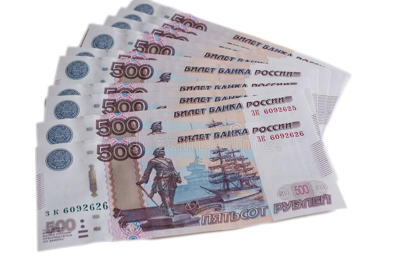 Много 500 банкнот банка России на белом позвоночнике русских рублей предпосылки 500 рублей стоковое изображение