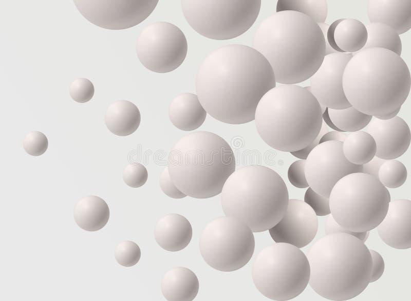 Много белые шарики различных размеров Обои фото для интерьера перевод 3d стоковое изображение