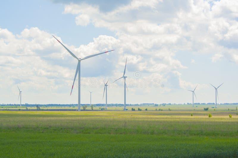Много больших и высоких ветрянок на солнечном дне на зеленом поле Генераторы альтернативной энергии Энергия ветра Экологичность,  стоковое фото