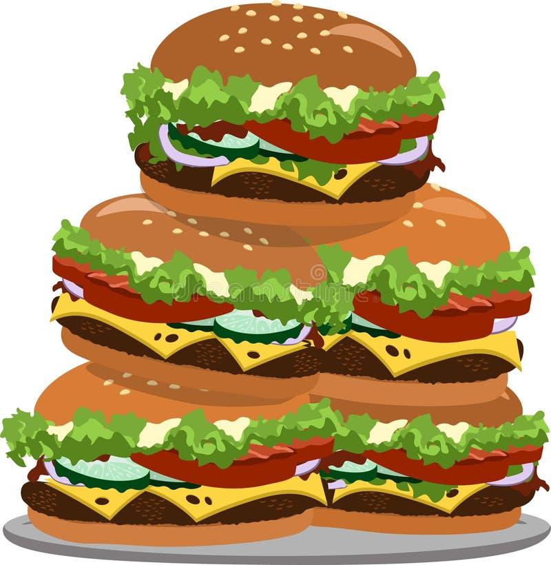 Много гамбургеры на плите, иллюстрации стоковые фотографии rf