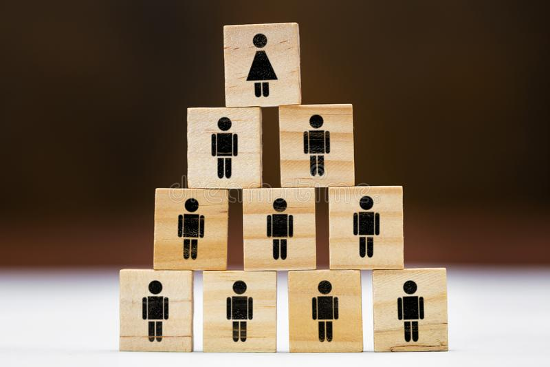Много деревянных блоков с символами для человека и женщины на ем, различных концепции как квота женщин или феминизм стоковое изображение rf
