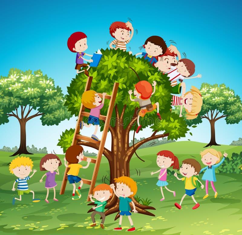 Много детей взбираясь вверх дерево иллюстрация штока
