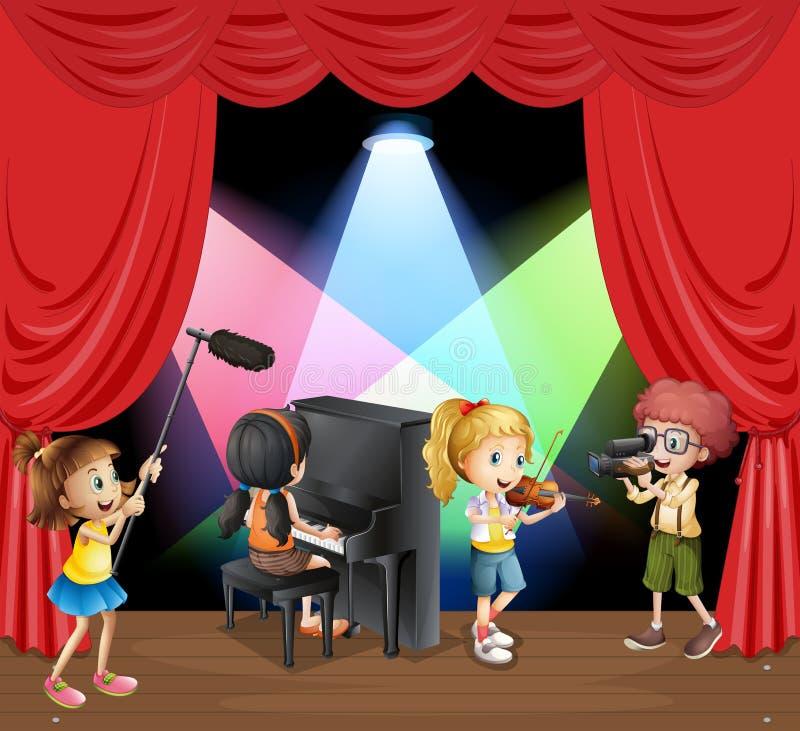 Много детей играя музыку на этапе иллюстрация вектора