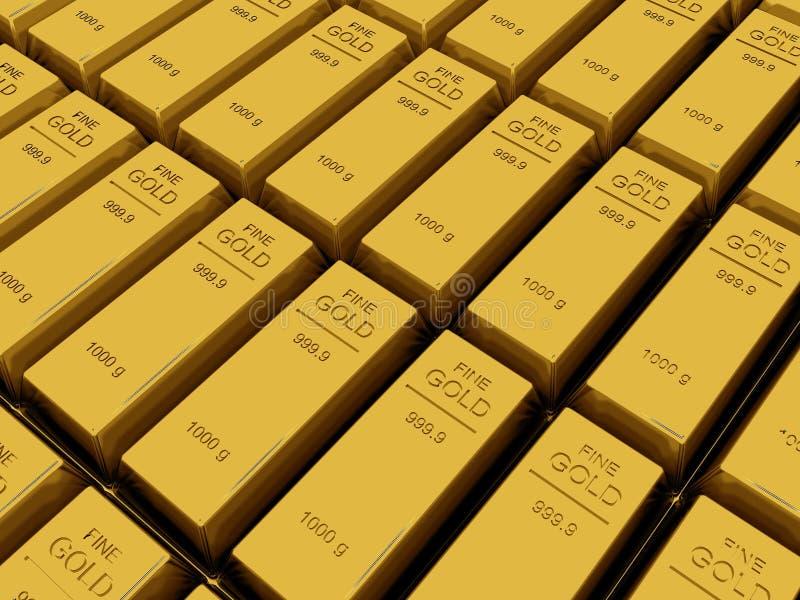 Много золота в слитках или слиток иллюстрация вектора