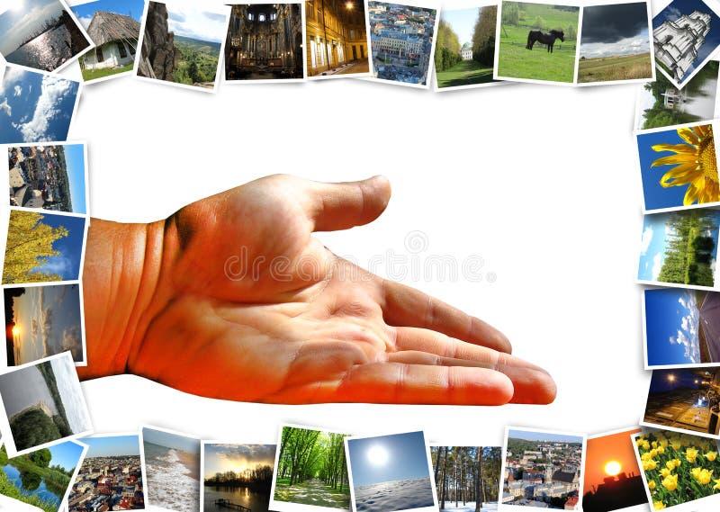 Много изображения motley и предлагая руки стоковое изображение