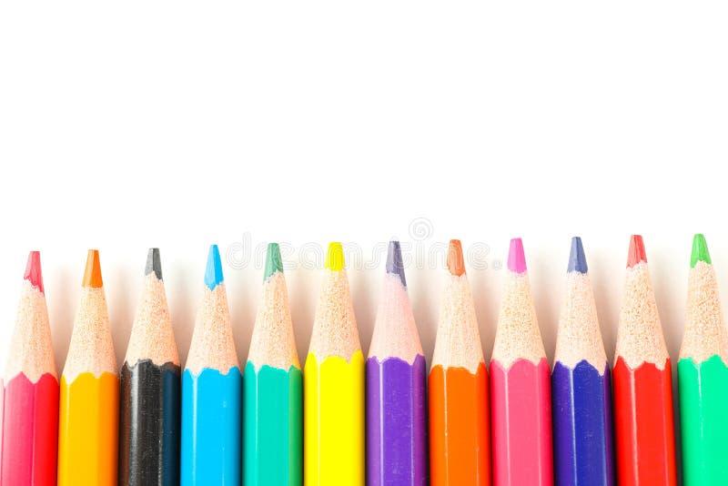 Много изолированных карандашей цвета стоковое изображение