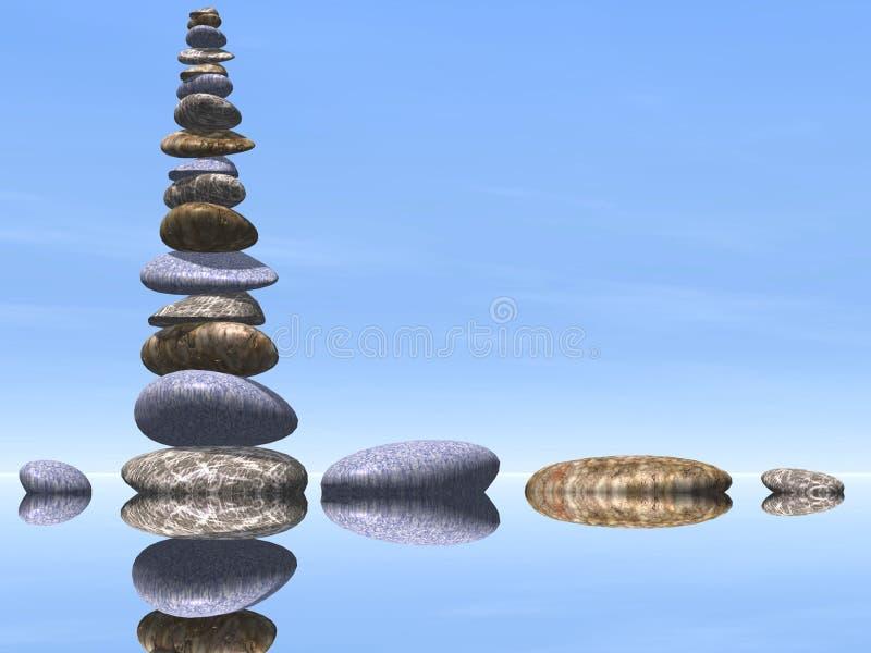 Много камней в воде иллюстрация штока