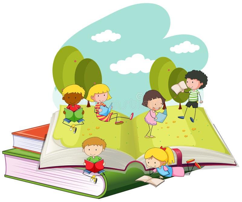 Много книг чтения детей в парке бесплатная иллюстрация