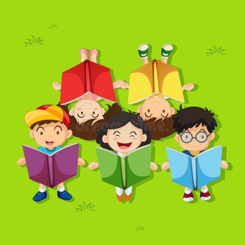 Много книг чтения детей в парке иллюстрация штока