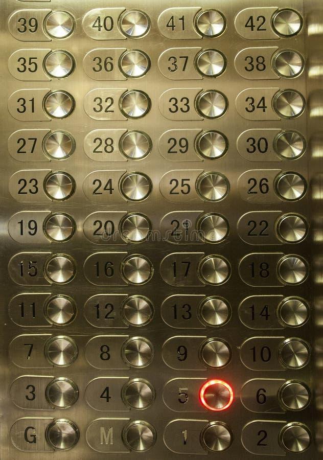 Много кнопок пола лифта стоковое изображение rf