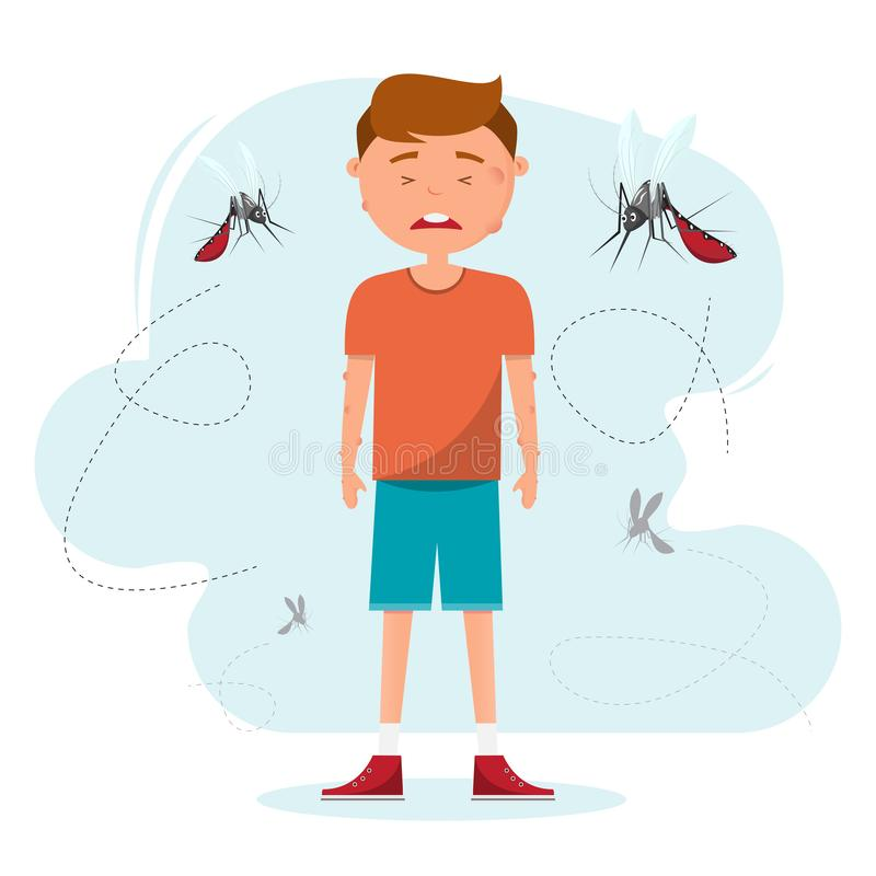 много комариные укусы мальчик иллюстрация штока