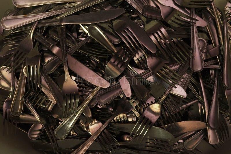 много конец вилки столового прибора ножа вверх по фото стоковое изображение rf