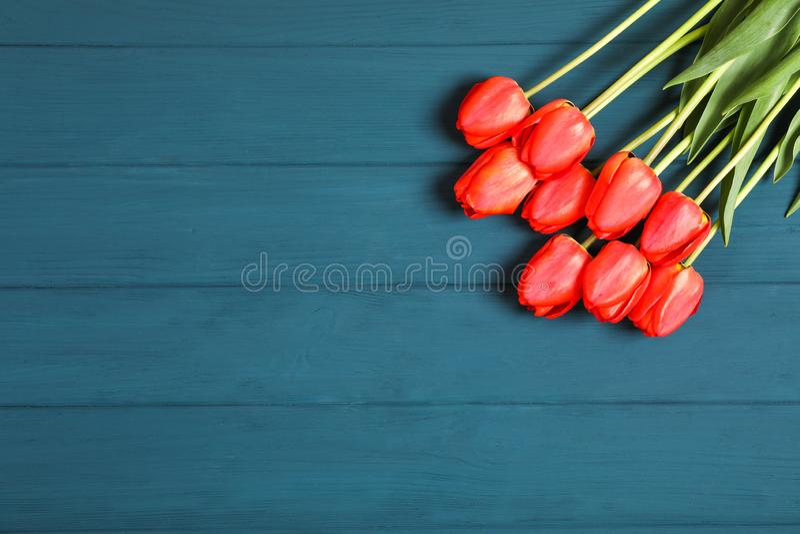 Много красивых красных тюльпанов с зелеными листьями на предпосылке цвета деревянной стоковые изображения rf