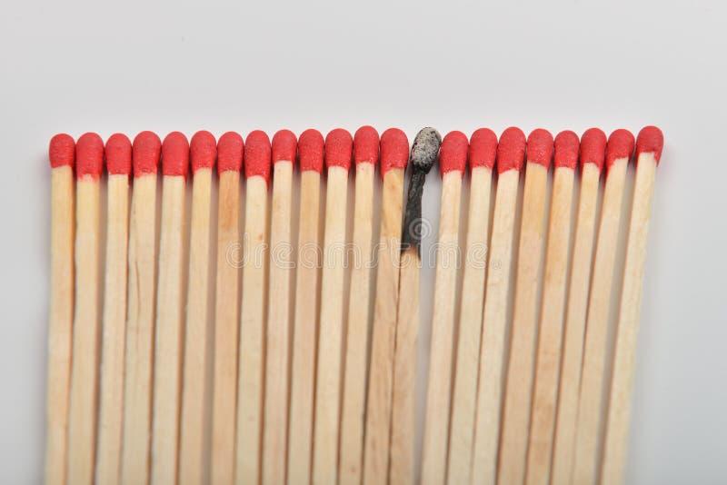 Много красных головных спичек и сгорели одно, который положенными прямо в линию на whi стоковое фото