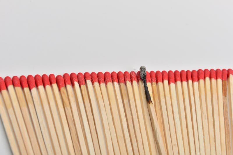 Много красных головных спичек и сгорели одно, который положенными прямо в линию на whi стоковые изображения rf
