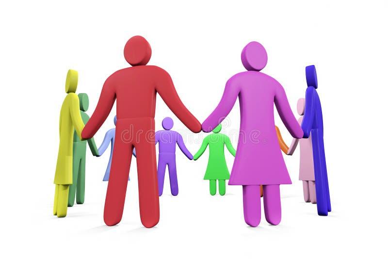 Много красочных абстрактных людей стоя в круге рука об руку иллюстрация вектора