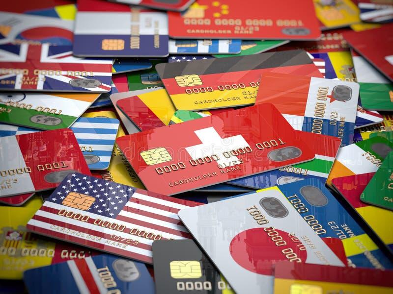 Много кредитных карточек различные страны Открытие банковского счета в любой стране мира иллюстрация штока