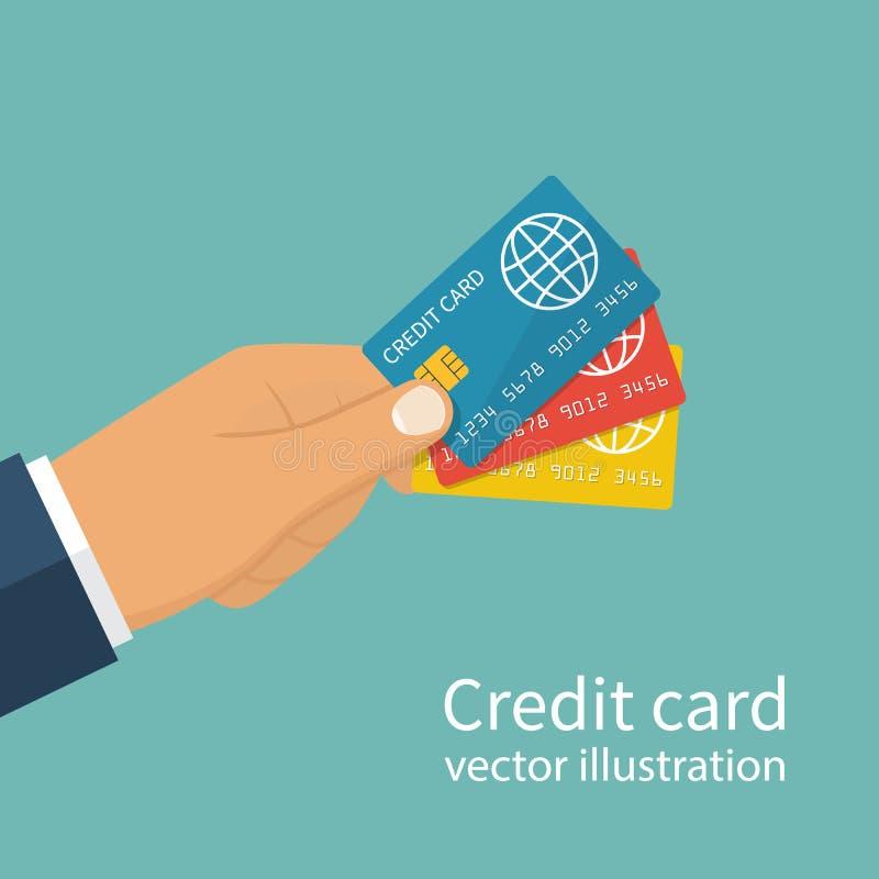 Много кредитных карточек держа в руке иллюстрация вектора