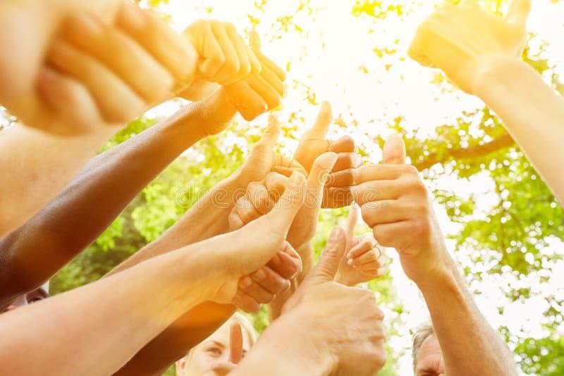 Много людей держат большие пальцы руки вверх в лете стоковое изображение rf