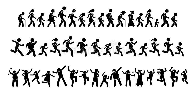Много людей идя, бежать, и танцуя совместно иллюстрация штока