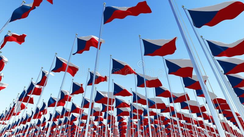 Много национальных флагов чехии стоковые фотографии rf