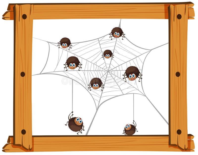 Много пауков в сети иллюстрация вектора