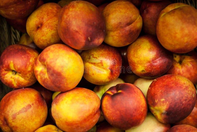 Много персиков на витринах магазина стоковое изображение rf