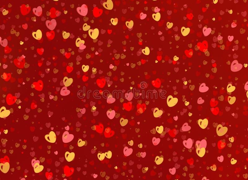 Много пестротканых малых предпосылок сердец иллюстрация вектора