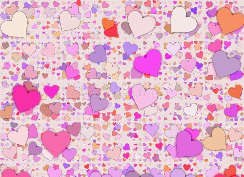 Много пестротканых малых предпосылок сердец иллюстрация штока