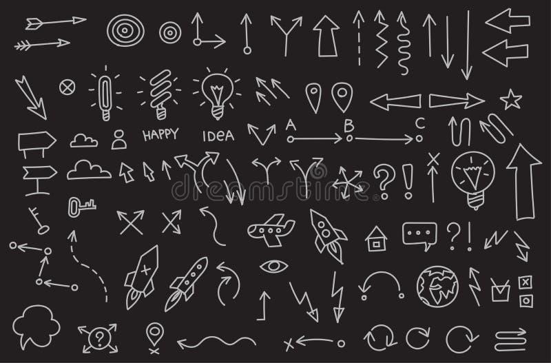 Много популярных значков дела стрелок делают эскиз к установленной линии чертежу плана вручную Вектор собрания руки вычерченный Н бесплатная иллюстрация