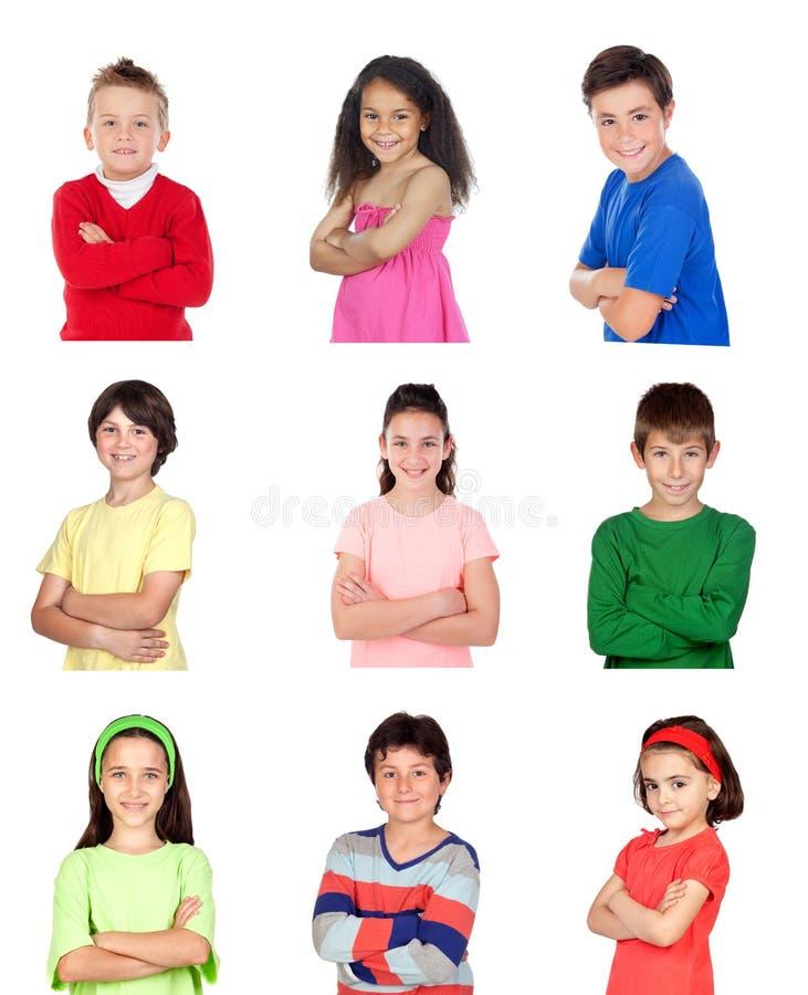 Много портретов различных детей стоковое изображение