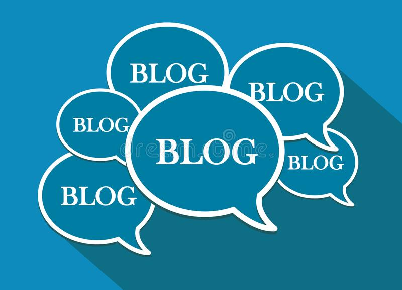 Много пузыри речи Значки и символы блога Плоский дизайн иллюстрация штока