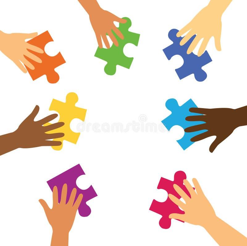 Много рук держа красочные части головоломки бесплатная иллюстрация