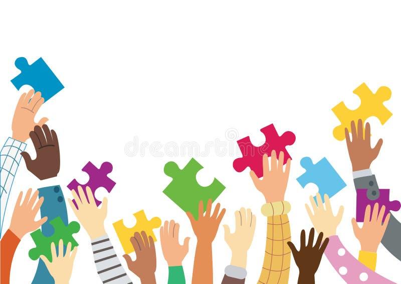Много рук держа красочные части головоломки иллюстрация вектора