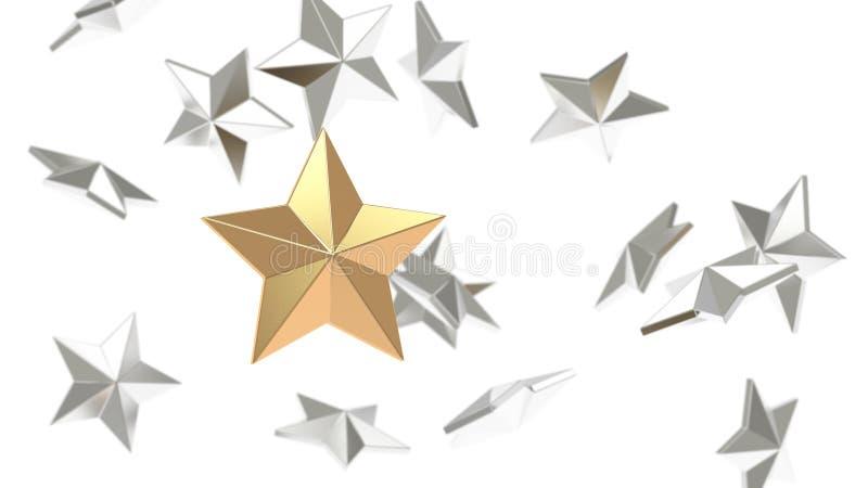 Много серебряные предпосылка звезды и фокус 3d звезды золота представить иллюстрация вектора