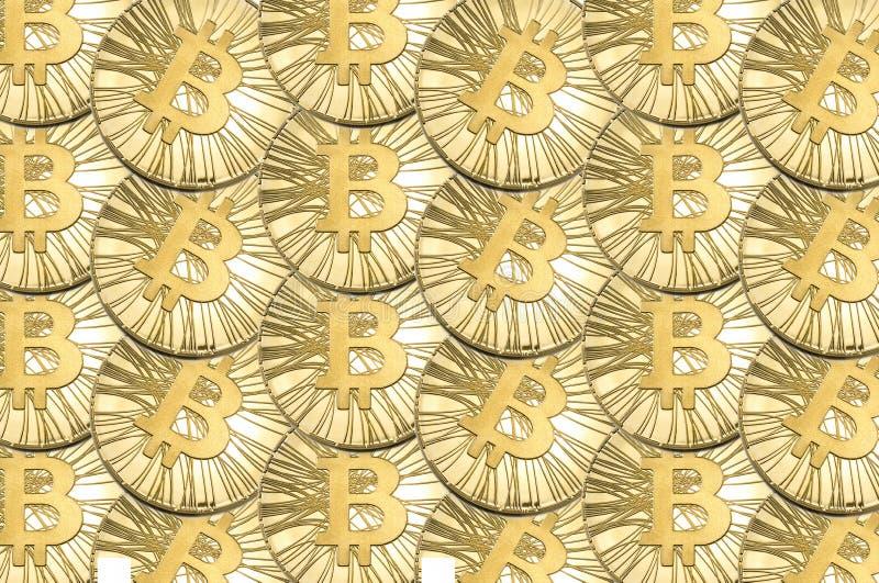 Много сияющее золото Bitcoin чеканит для предпосылки или текстуры стоковая фотография rf