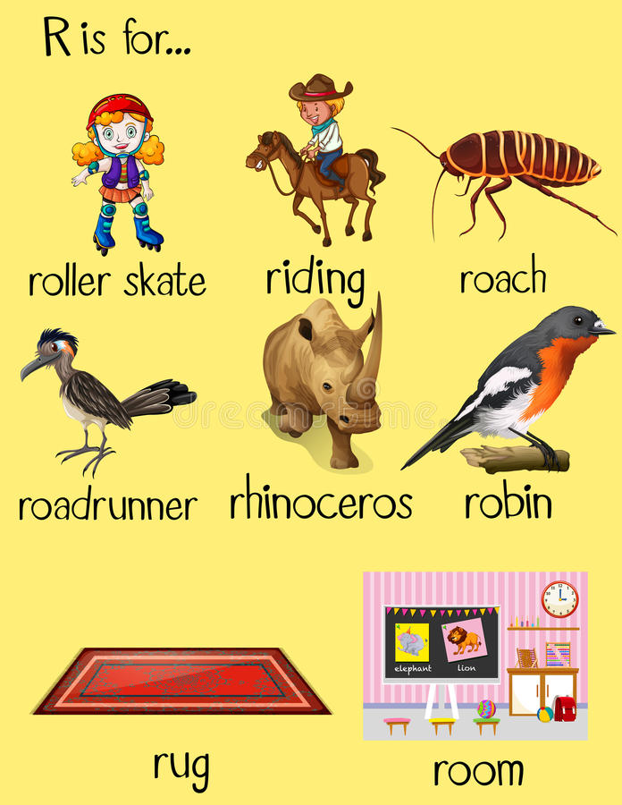 Много слов начинают с письмом r иллюстрация вектора