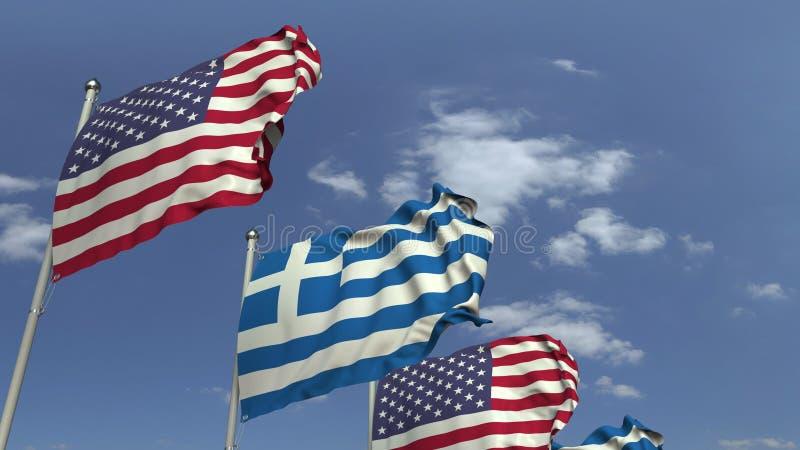 Много флагов Греции и США, перевода 3D стоковые изображения