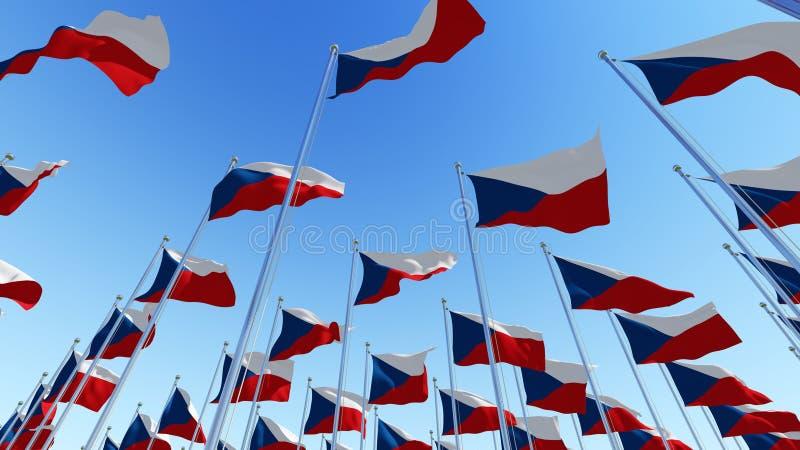 Много флагов чехии перед голубым небом стоковое изображение rf
