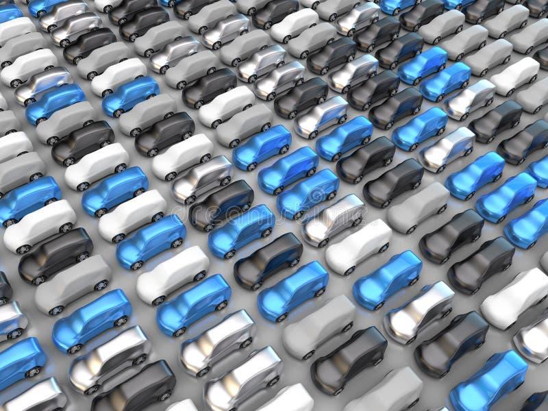 Много черных, серебряных, белых, голубых и серых автомобилей бесплатная иллюстрация