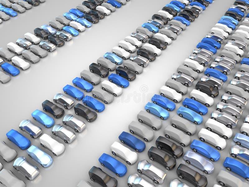 Много черных, серебряных, белых, голубых и серых автомобилей иллюстрация вектора
