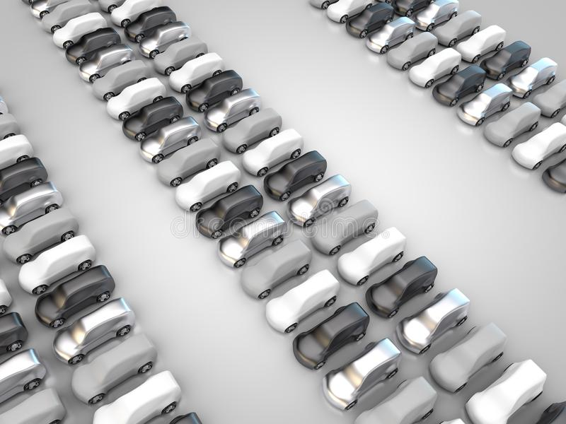 Много черных, серебряных, белых и серых автомобилей иллюстрация штока