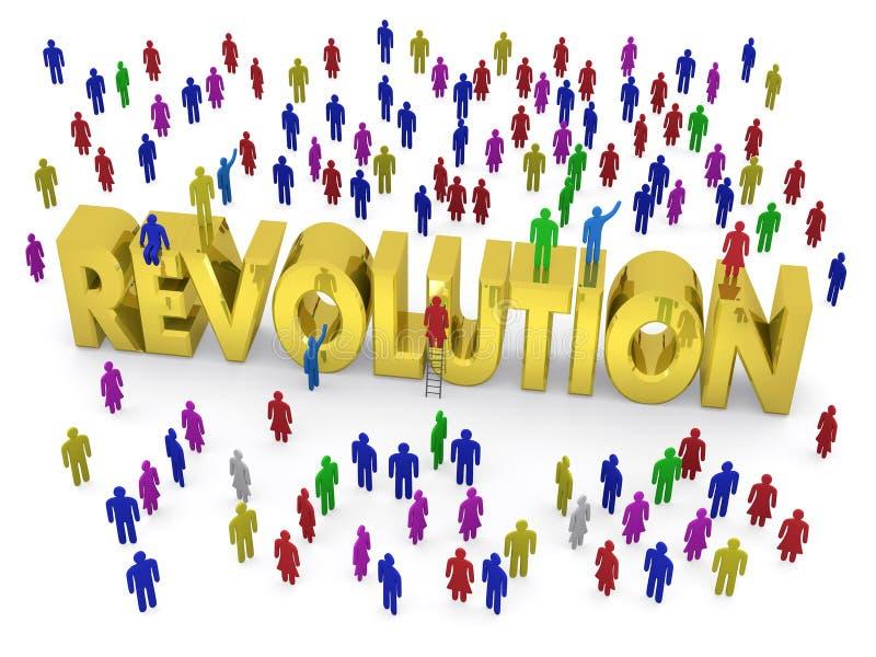 Много людей стоят вокруг золотой революции слова иллюстрация вектора