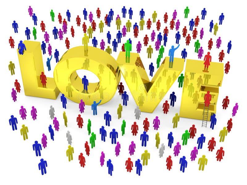 Много людей толпить вокруг золотой влюбленности слова иллюстрация вектора