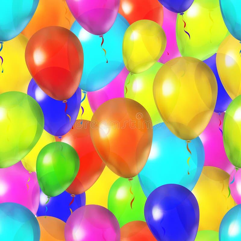 Много ярких красочных воздушных шаров, безшовная картина бесплатная иллюстрация