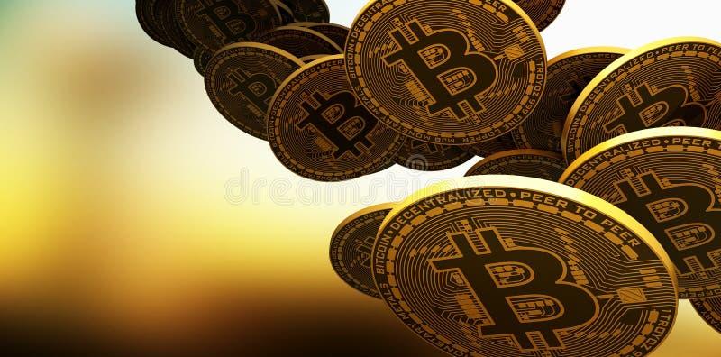 Много bitcoins золота кладя на отражательную поверхность, перевод 3d иллюстрация вектора